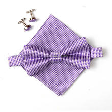 2019 new plaid men's neck tie set bowties hanky cufflinks butterfly Pocket Square Handkerchief