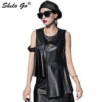 Asymmetry Leather Vest Women Summer Streetwear O Neck Sleeveless Pleated Sheepskin Genuine Leather Short Vest Casual Female Vest