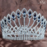 Stunning 5 Full Round Crowns Clear Blue Rhinestones Luxurious Large Tiaras Handmade Pageant Party Prom Hair Accessories