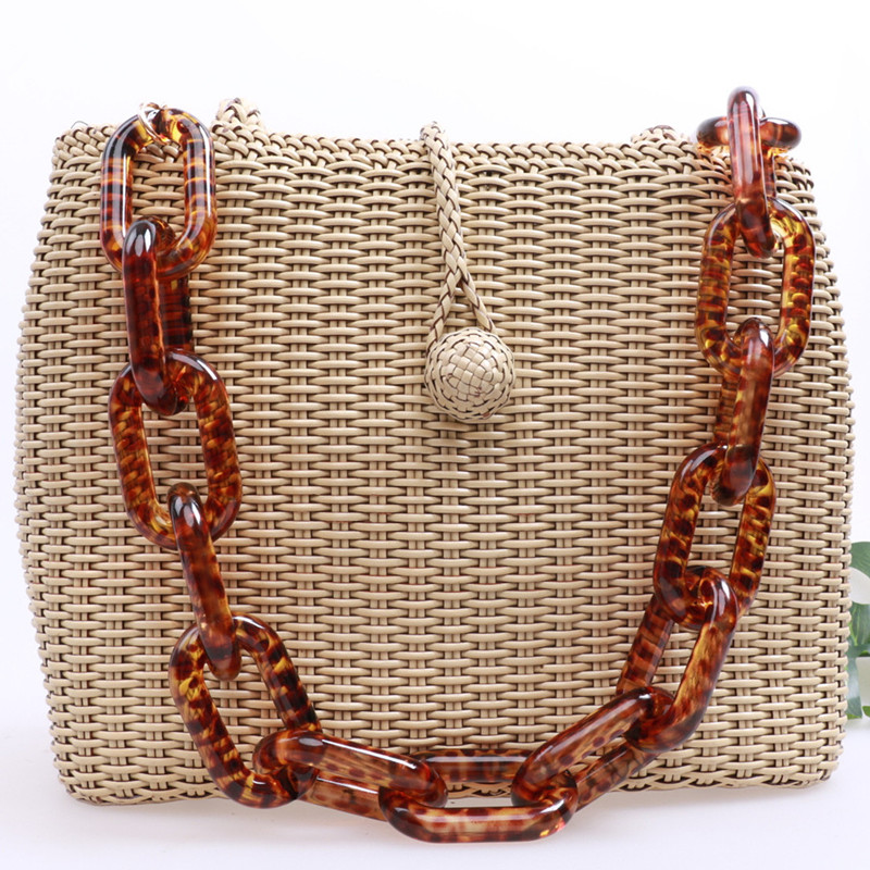 2017 summer new design Acrylic women handbags strap Thick chain for bags L Shoulder Strap Bag Chains Leopard Plastic Resin Chain design fee for plastic bag usd50