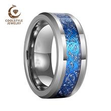 8 мм Мужская обручальное кольцо для женщин из карбида вольфрама обручальное кольцо с голубым драконом и имитацией метеорита инкрустация