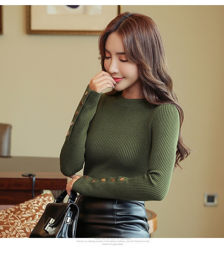 Fashion 19 New Spring Autumn Women Sweater Knitted Long Sleeve O-Neck Sexy Slim Office Lady Button Casual Sweaters Tops 7