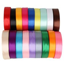 Pick Color 25 Yards 20mm Satin Ribbon Lace for DIY Bow Craft Decor Wedding Party Decoration Gift Wrapping Scrapbooking Supplies(China)
