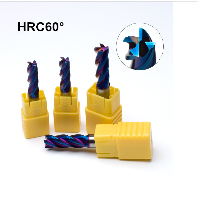 D10*25*D10*75mm*4T Solid Carbide 4 Flutes Flattened End Mills With Straight Slim Shank Milling Cutter HRC65 NACo-Blue Coated