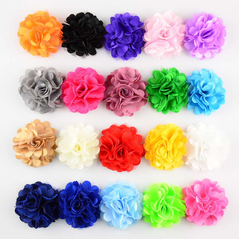 50pcs/lot 2 20 Colors Mini Satin Mesh Hair Flower For Baby Girls Hair Accessories Artificial Fabric Flowers For Headbands