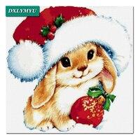 100% полный дрель DIY Алмазный Вышивка Алмазная мозаика Рождество шляпа кролика Рукоделие 3D DIAMOND Картины крестом картина