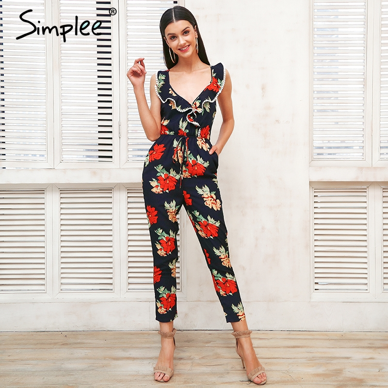 Simplee Cross V Neck Boho Floral Print Jumpsuit Ruffle Lace Up Sexy Jumpsuit Women Backless Elegant Summer Playsuits Female