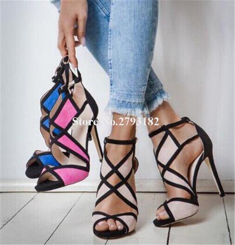 as Mince Picture Mode Chaussures Daim Talon Bout Spartiates Nouvelle out As Talons À Ouvert Cut Femmes Hauts En Picture Sandales Habillées Cuir Patchworks x1Bvgqpwnp