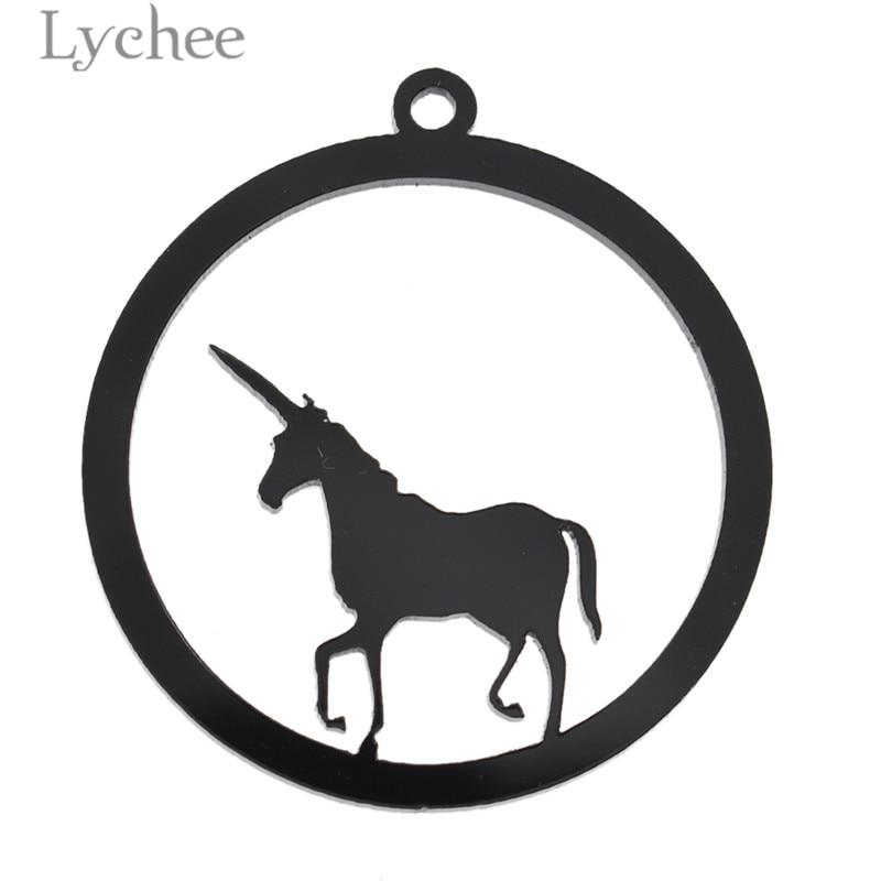 Lychee Trendy Acrylic Animal Design Hollow Mold Cat Rabbit Unicorn Shape Molds Lovely Diy Handmade Mold For Jewelry Making