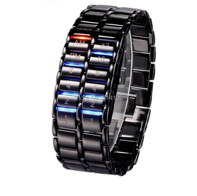 Luxury electronic second generation Binary Systen LED watches mens wrist watch Lava Clock Hours
