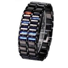 De lujo de segunda generación electrónica Binary Systen LED relojes para hombre del reloj de la Lava Del Reloj Horas