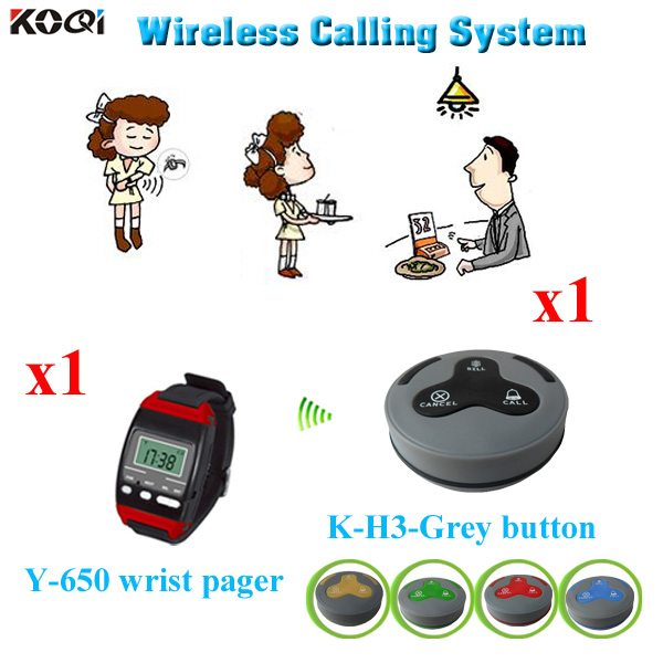 Wireless Electronic Watch System For Restaurant With Factory Price Table Calling Waiter Equipment 1 wrist watch + 1 call button