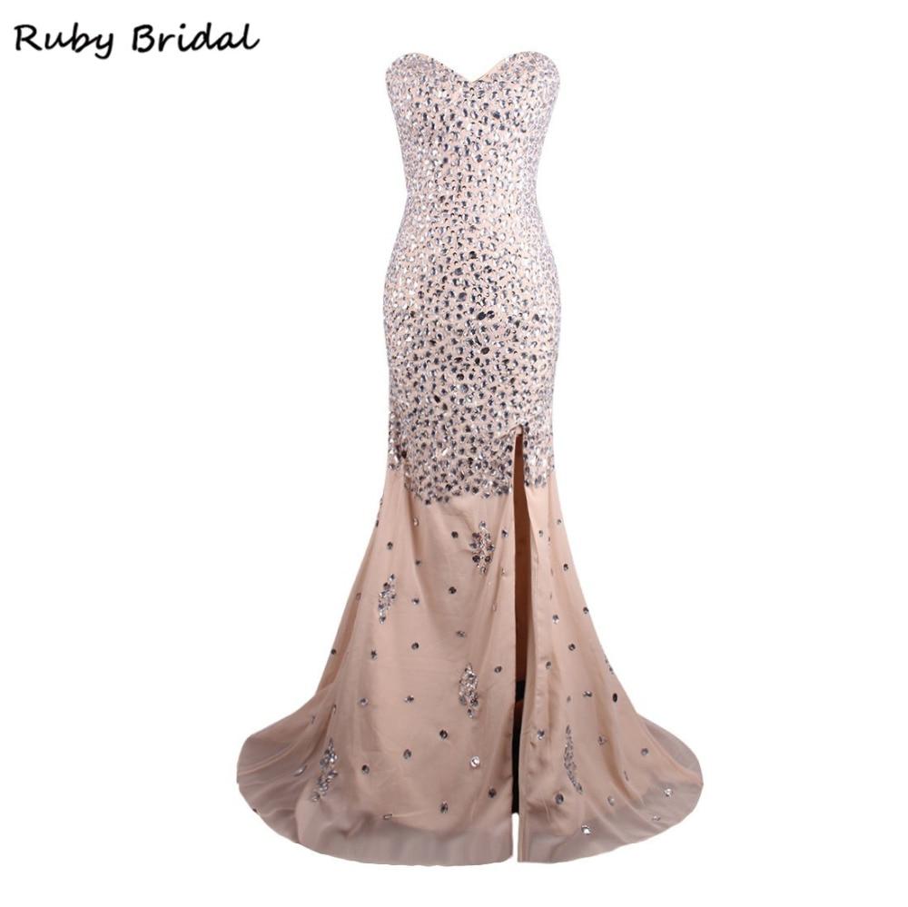 Rubis mariée 2017 Vestidos De Fiesta Champagne mousseline De soie cristaux robe De bal De luxe sirène sans bretelles Split bal robe De soirée LP064