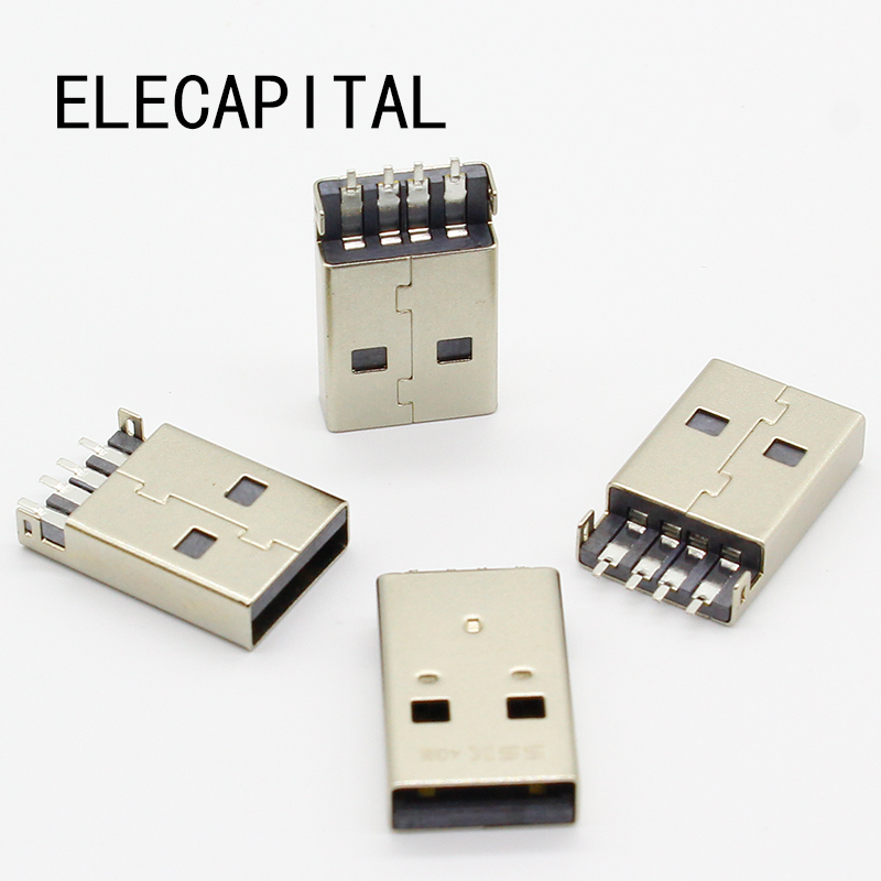 10pcs/lot USB 2.0 4Pin A Type Male Plug SMT Connector Black G49 for Data Transmission Charging Free Shipping