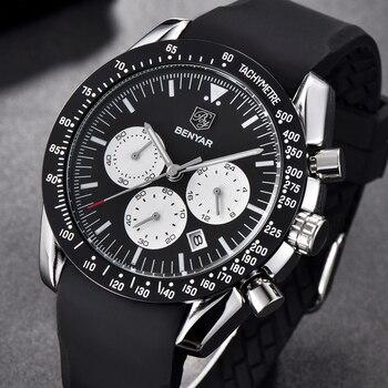 BENYAR модные брендовые роскошные классические кварцевые часы мужские военные черные силиконовые большие циферблаты спортивные мужские часы...