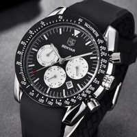 BENYAR แฟชั่นยี่ห้อ Luxury Classic นาฬิกาควอตซ์ผู้ชายสีดำซิลิโคนขนาดใหญ่ dials Sport Man นาฬิกานาฬิกา Relogio Masculino