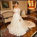 2016 Custom Made vestido de Noiva robe de Mariage vestido de Noiva Peru Vestido De Casamento Fora Do Ombro de Noiva de Renda Plus Size