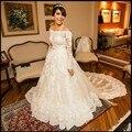 2016 Por Encargo vestidos de Novia Vestido de Casamento robe de mariage Vestido de Noiva Fuera Del Hombro Vestido de Novia de Encaje de Pavo Más Tamaño