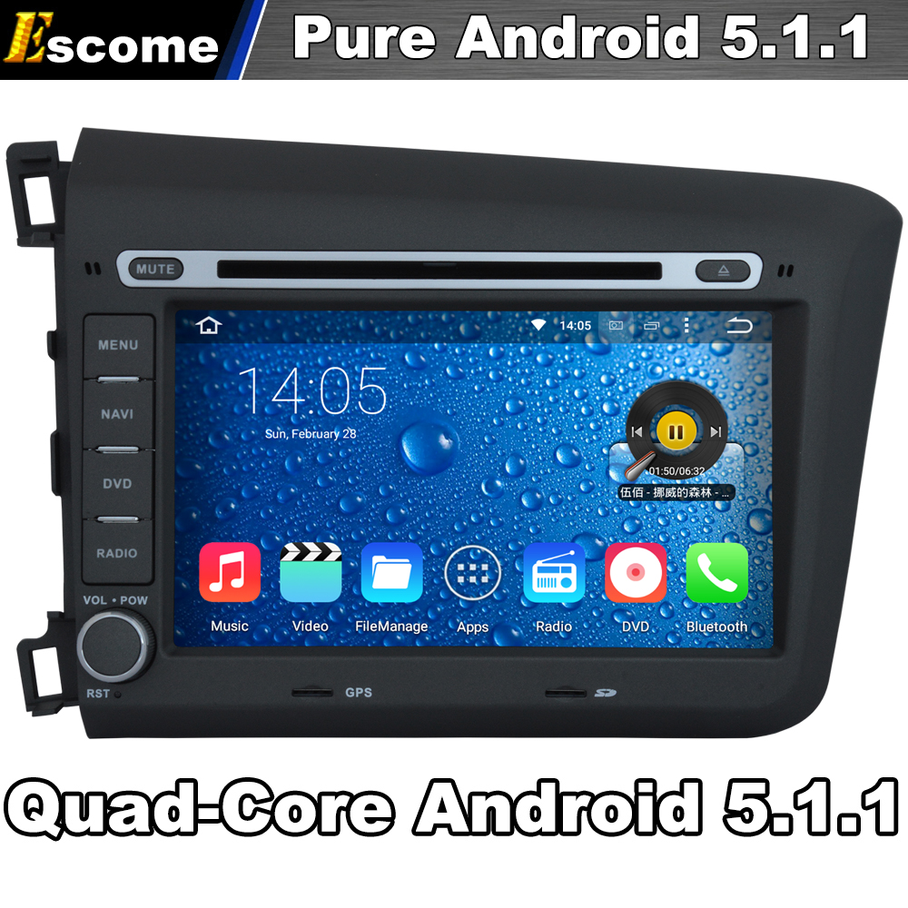 Quad core 2 din android 5 1 car dvd automotivo for honda civic 2012 2013 with 16g