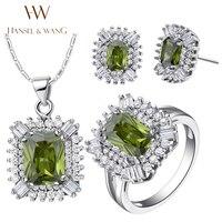 Hansel & Wang 2016 Nova Moda Áustria Cristal CZ Brincos de Diamantes Colar De Prata Banhado Anéis para As Mulheres Jóias Set 2JS54
