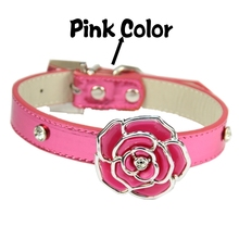 Luxury Soft Leather Dog Collars With Rose And Diamanté Detail