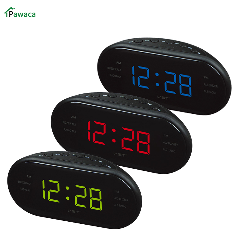 new eu us plug led alarm clock desk bedside digital alarm clock radio sleep timer snooze table. Black Bedroom Furniture Sets. Home Design Ideas