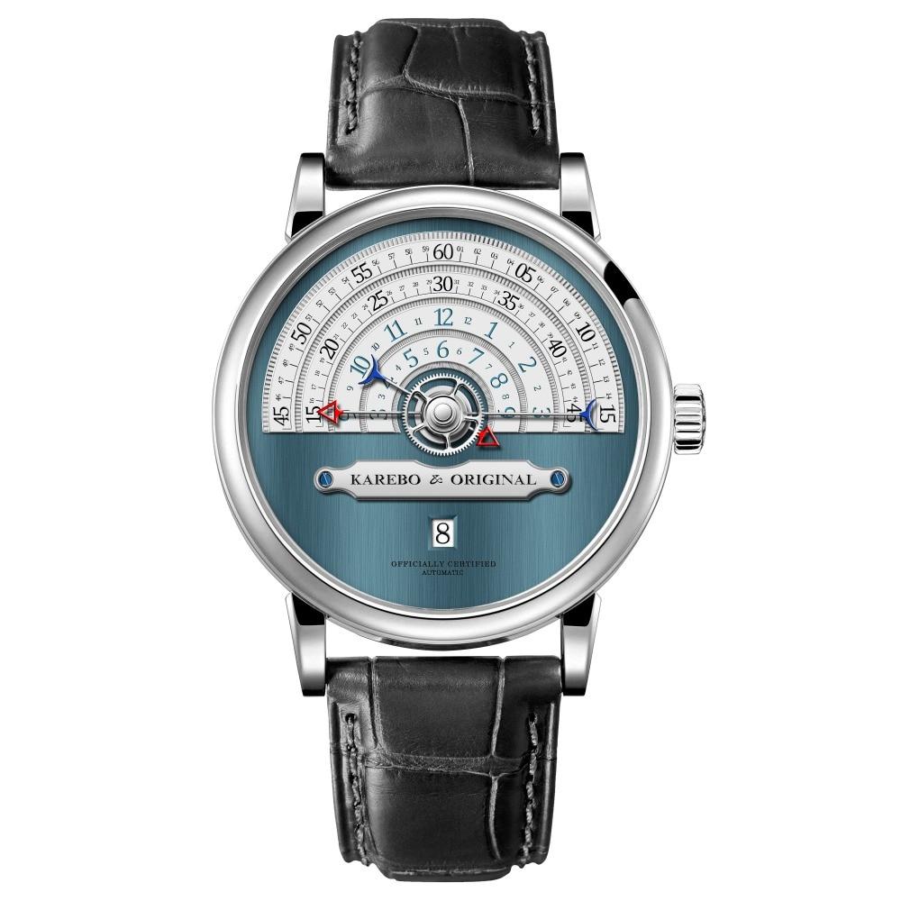 KAREBO hombres ultrafino Semi-Círculo de escala de tiempo mecánica reloj de pulsera con ETA2824 Automtatic-viento reloj movimiento-azul