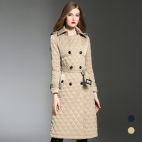 High quality winter warm women padded overcoats England style belted parkas coat women greatcoat D627