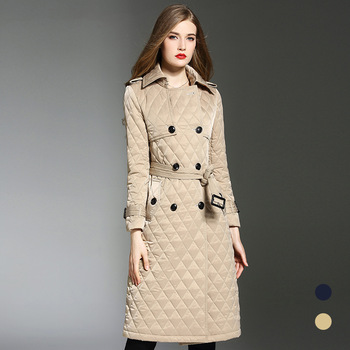 High quality winter warm women padded overcoats England style belted parkas coat women greatcoat D627 flounce trim belted coat