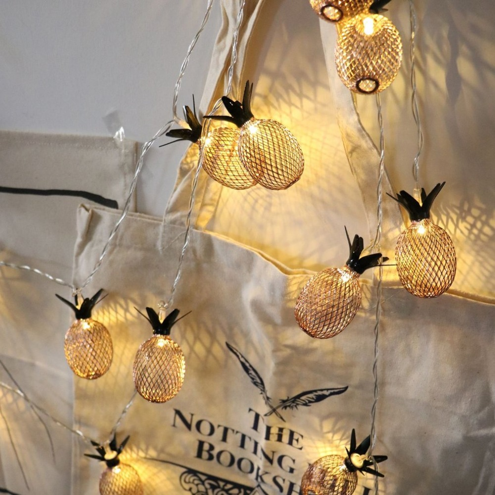 Retro Style Gold Pineapple String Lights 10/20 LED Battery Powered Novelty Fairy Lights For Bedroom Wedding Birthday Party