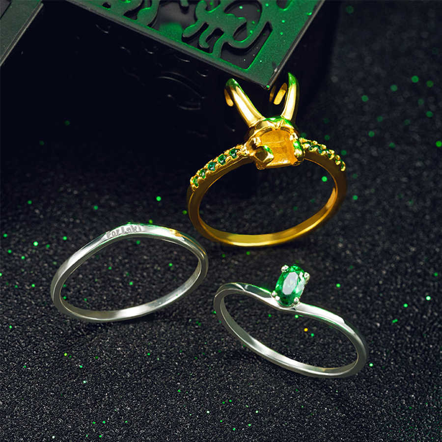 Gankchen Loki Cosplay Ring Loki Helmet Ring Zinc Alloy Golden Colore Size 7-11