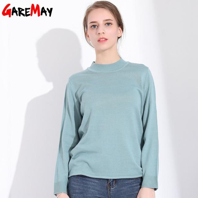 Otoño mujer suéter con cuello de manga larga suéteres delgados sueltos de  punto acanalado cuello femenino f587d3d5edc6