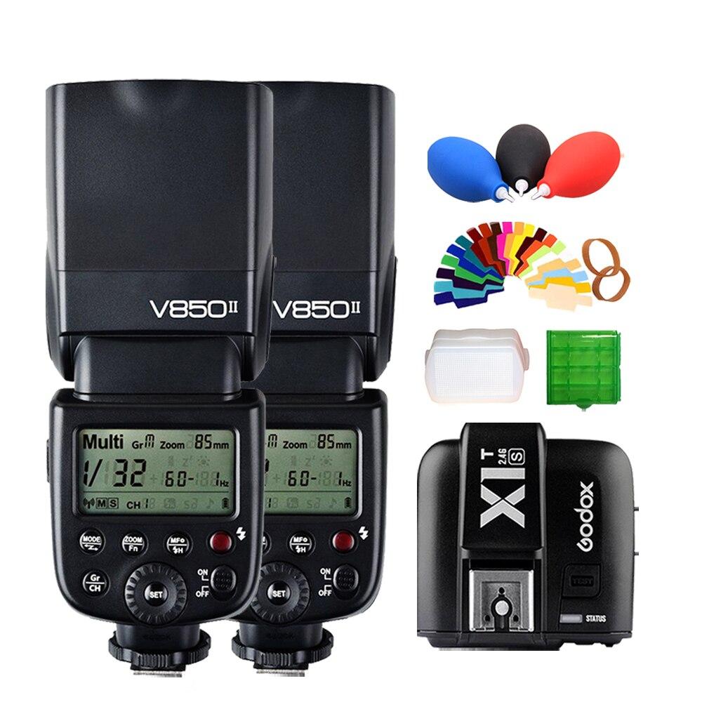 2* Godox V850II GN60 w/ 2000mAh Li-ion Battery 2.4G Wirless X System Speedlite Flash Light + X1T-S Trigger Transmitter for Sony2* Godox V850II GN60 w/ 2000mAh Li-ion Battery 2.4G Wirless X System Speedlite Flash Light + X1T-S Trigger Transmitter for Sony