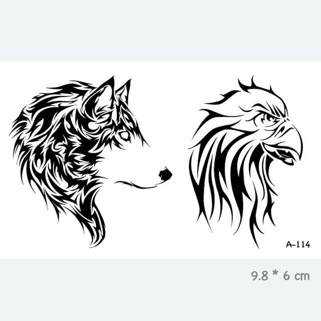 a45bb4ecf24a0 Wolf Eagle Waterproof Temporary Tattoo Stickers for Adults Kids Body Art  Fake Tatoo for Women Men Tattoos A-114