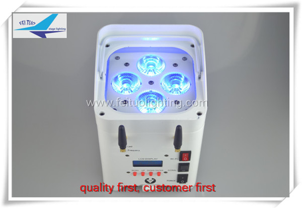 T-4pcs/lot dj par led uplight 4x12w 6in1 RGBWA+UV DMX 512 Wifi Battery Powered stage light