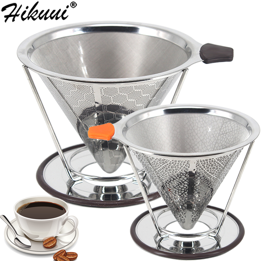 Double Layer Coffee Filter 304 Stainless Steel Drip Coffee Holder Funnel Baskets Reusable Coffe Filters And Stand Coffee Filter