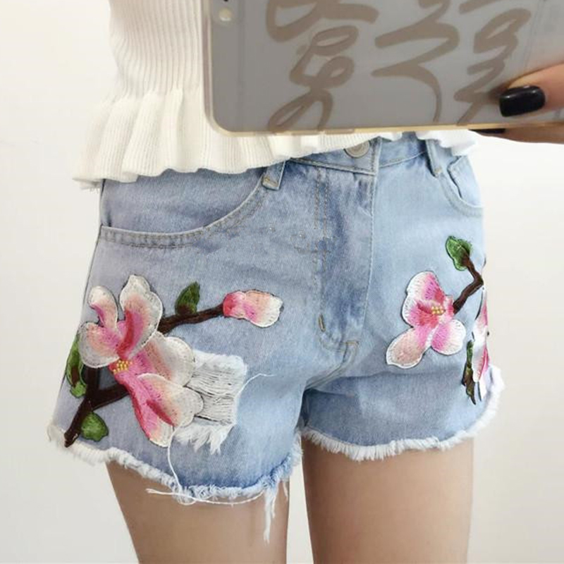 aa38724143 5XL Plus Size Floral embroidery denim shorts Women light blue flower  Embroidered shorts Jeans short pants Summer Shorts Femme-in Shorts from  Women's ...