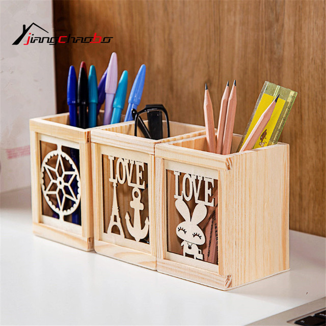 Ordinaire 1Pcs Wood Hollow Design Cylinder Pen Pencil Pot Holder Makeup Brush Storage  Vintage Women Makeup Holder