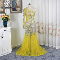 One Shoulder Long Sleeves Bling Bling Rhinestones Crystals Beading Prom Dress See Through Mermaid Yellow Shiny Evening Gowns