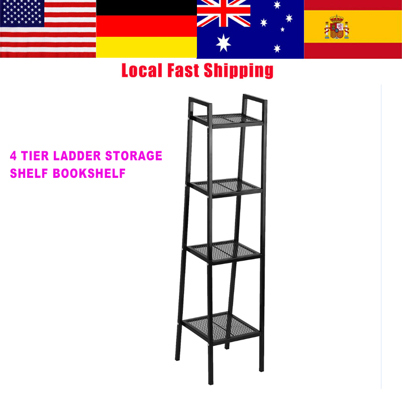 4 Tier Ladder Shelf Unit Bookshelf Bookcase Book Storage Shelf Display Rack Stand Home Office Use White/Black 35*35*145cm NEW