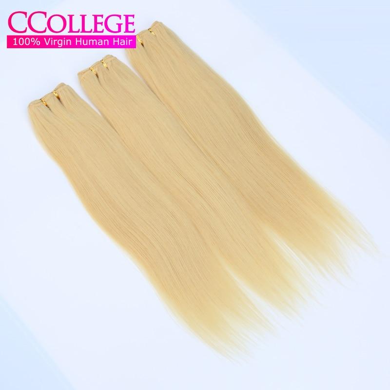 #613 Blonde India Virgin Hair 4 Bundles Honey Blonde Human Hair Weaves Platinum Blonde Virgin Hair Extensions 100g/pc 12-26