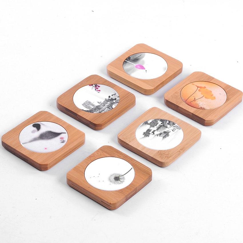 luxurious 6pcs Bamboo Porcelain Tea Coffee Cup Mat Creative Mug Coaster Heat Resistant Placemat Holder Pad,teaware ceremony