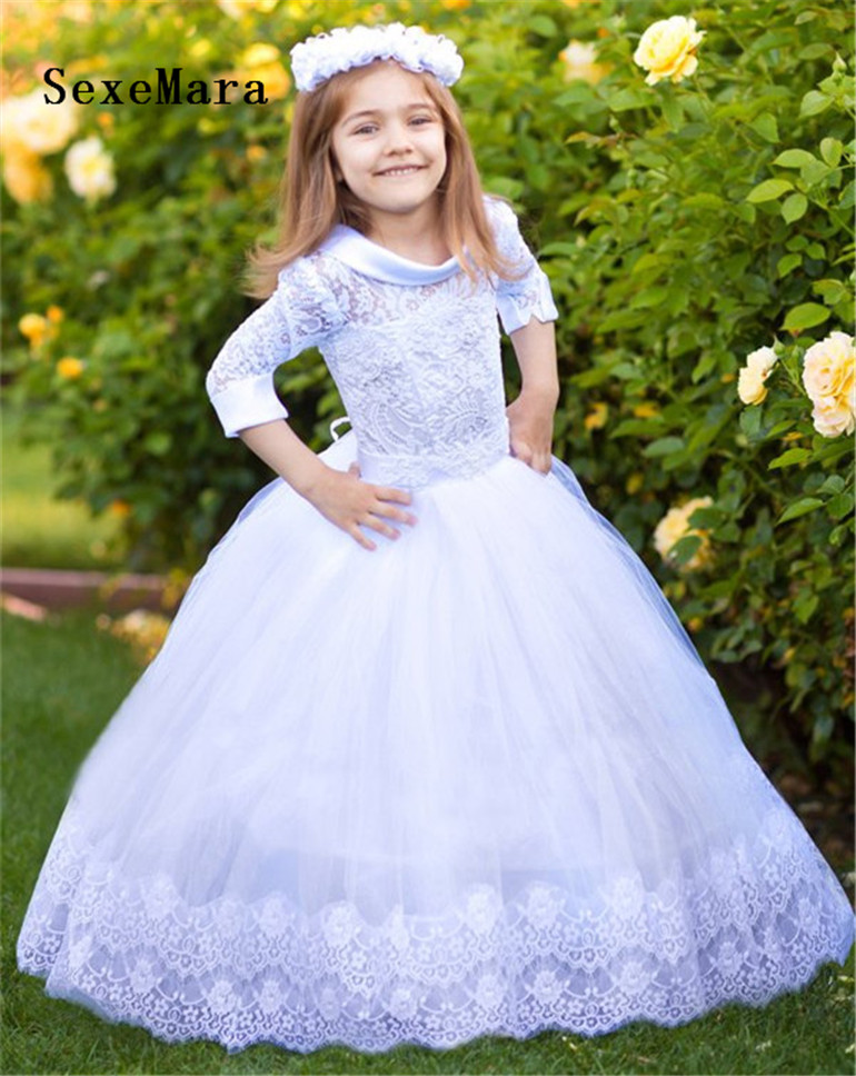White Lace Girls First Communion Dress Ball Gown Birthday Dress Half Sleeve Long Princess Flower Girls Dresses for Wedding white lace girls first communion dress ball gown birthday dress half sleeve long princess flower girls dresses for wedding