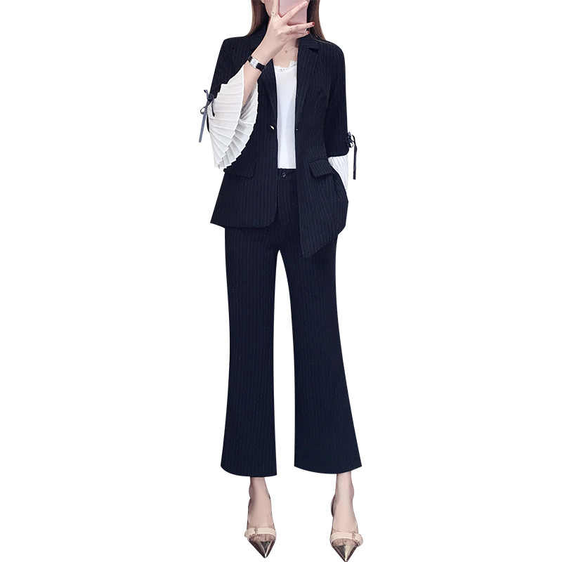 高品質女性の衣服トランペットスリーブストライプ小さなスーツ女性の春のファッションワイド脚パンツスリム薄型女性のスーツの女性
