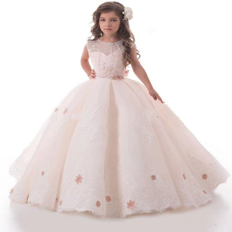 2018 Best Seller White Tulle Flower Girl Dress For Sweet Girl Open