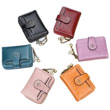 AOEO Mini Wallet For Girls Candy Color PU Leather Small Purse Female Id Card Hol