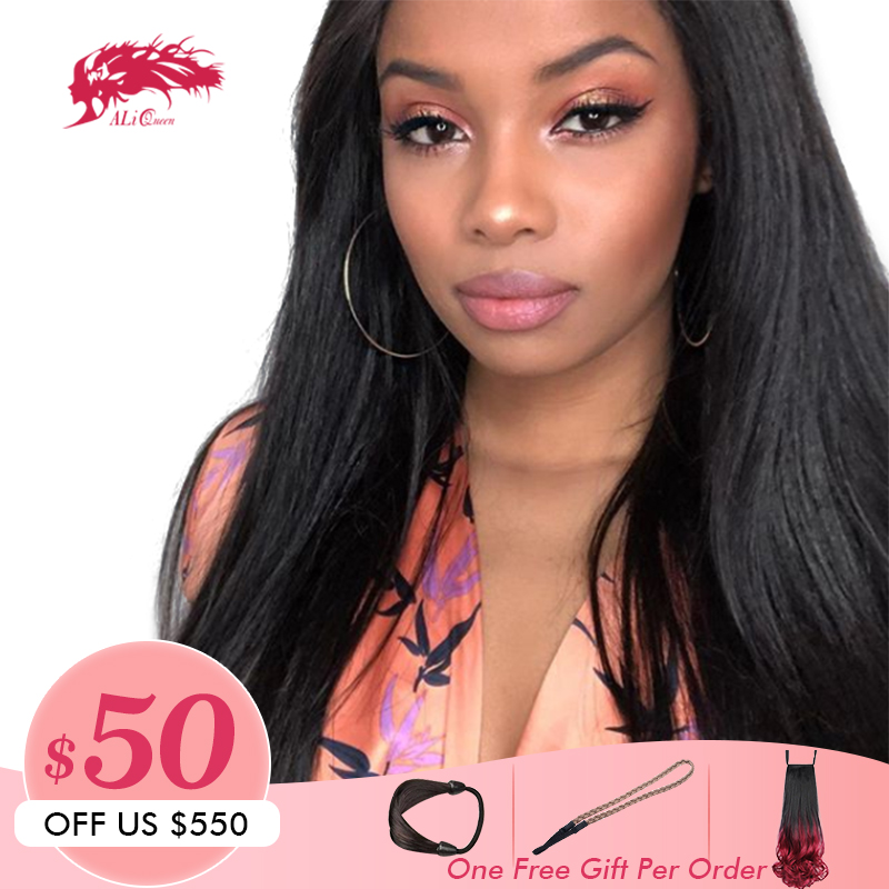 5x5 Lace Closure Wig Ali Queen Hair DIY Custom Wigs 2 3pc Brazilian Straight Hair With