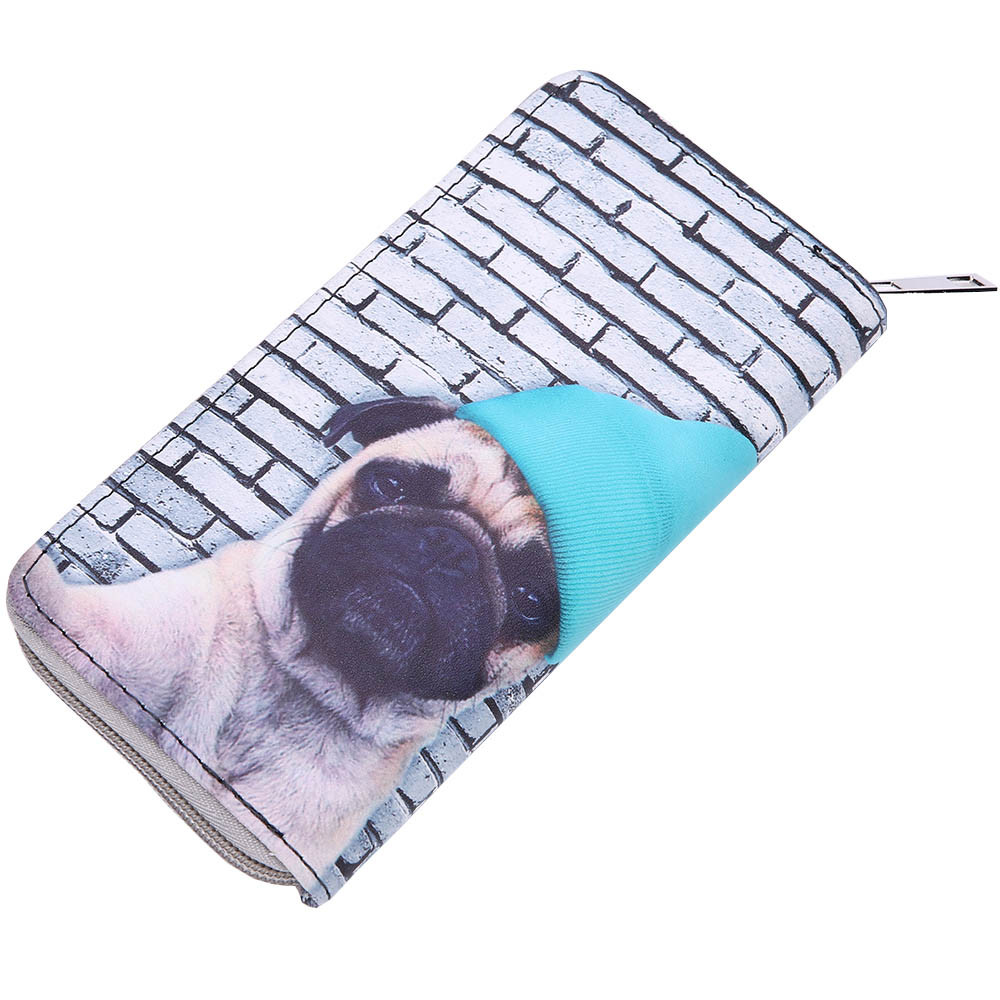 New Fashion 2018 Animals Sharpei Pug Cute Dog Print Female Ladies Wallet Designer Coin Purse Card Holder Zipper Wallet