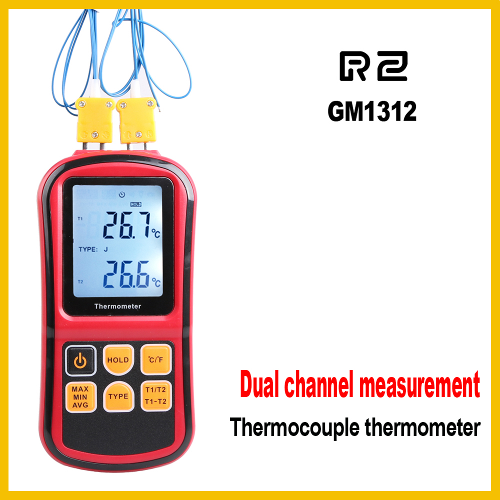 Professional thermometer Digital Measure Too High Precision Temperature Meter Tester with LCD Back light GM1312 factory authorized vc89b advanced digital meter can measure temperature capacitor 89b