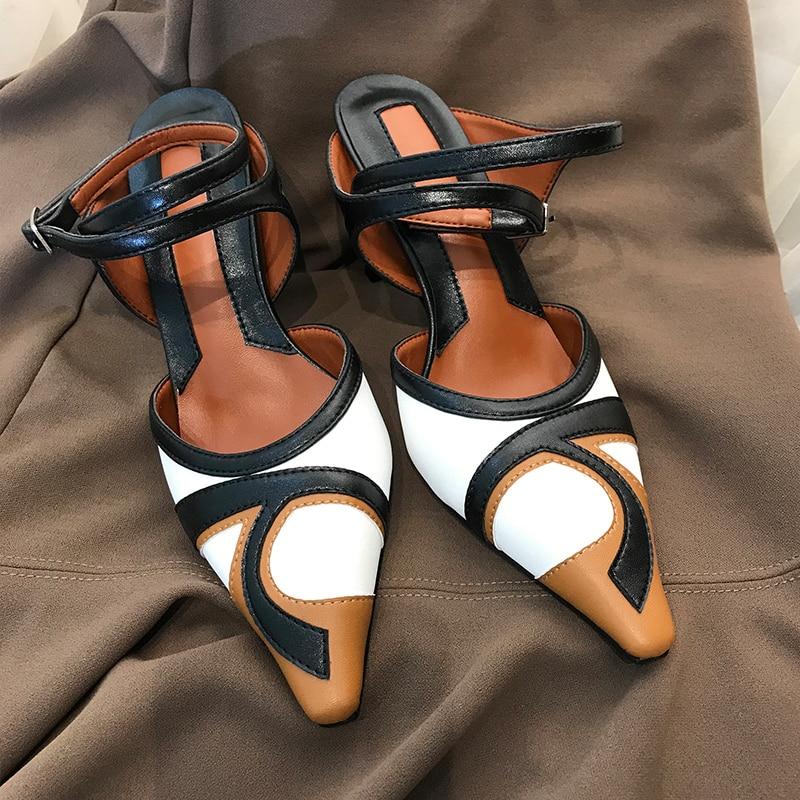 Designer New Multi Color Leather Women Sandals Pointed Toe Slingbacks Ladies Shoes High Heels Ankle Strap Gladiators Stilettos